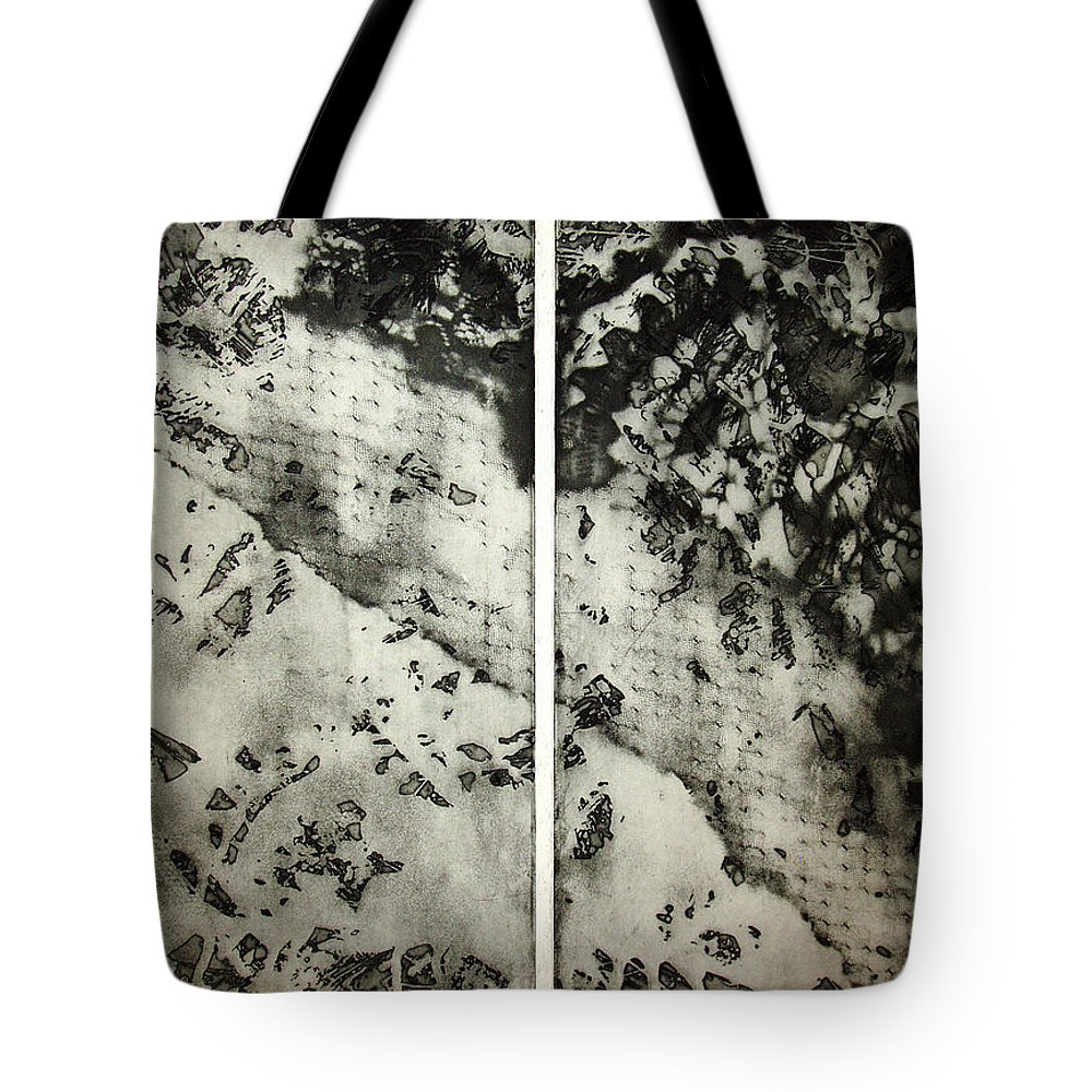 Etching Tote Bag featuring the drawing Shadows And Lace by Nancy Mueller