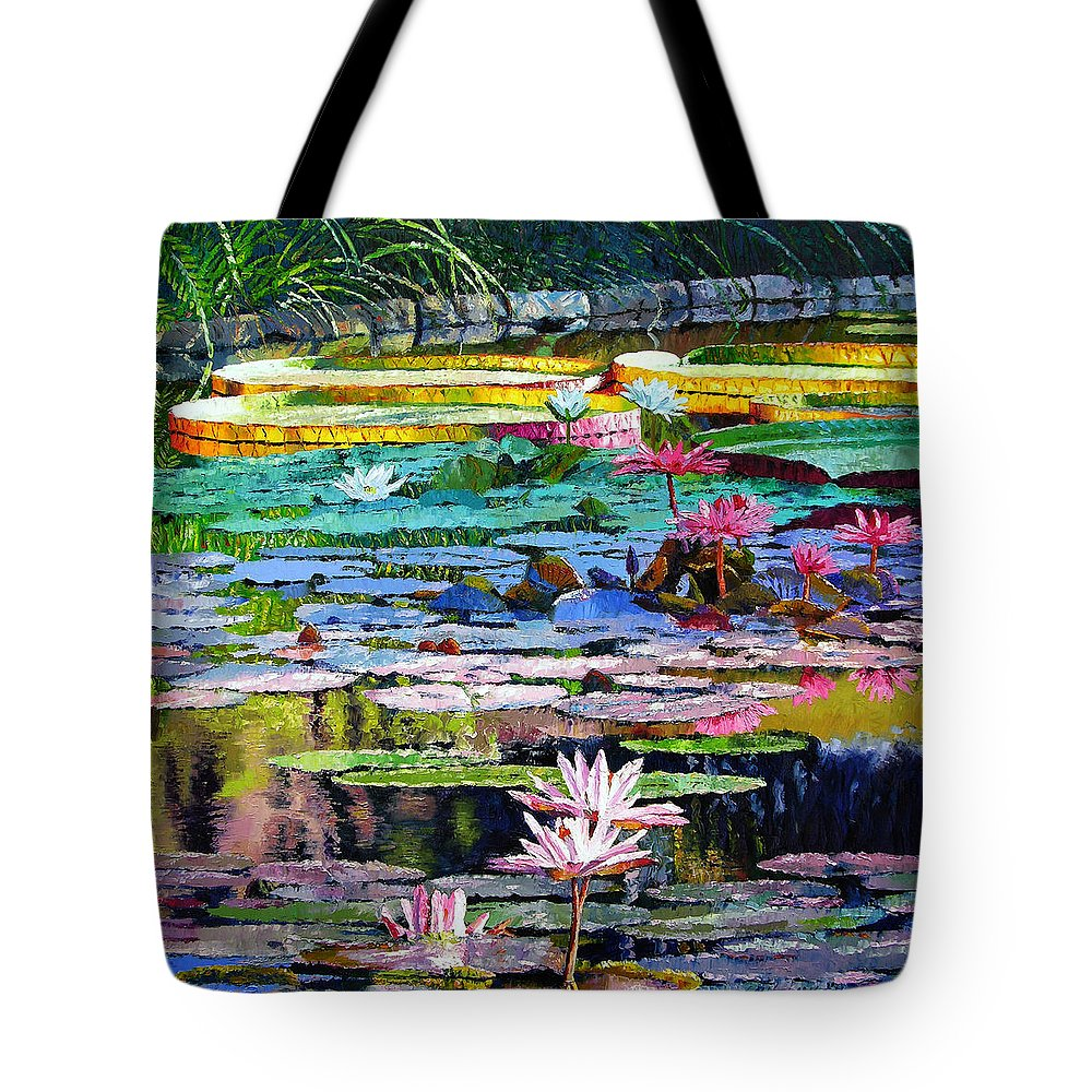 Water Lilies Tote Bag featuring the painting Shadows And Sunlight by John Lautermilch