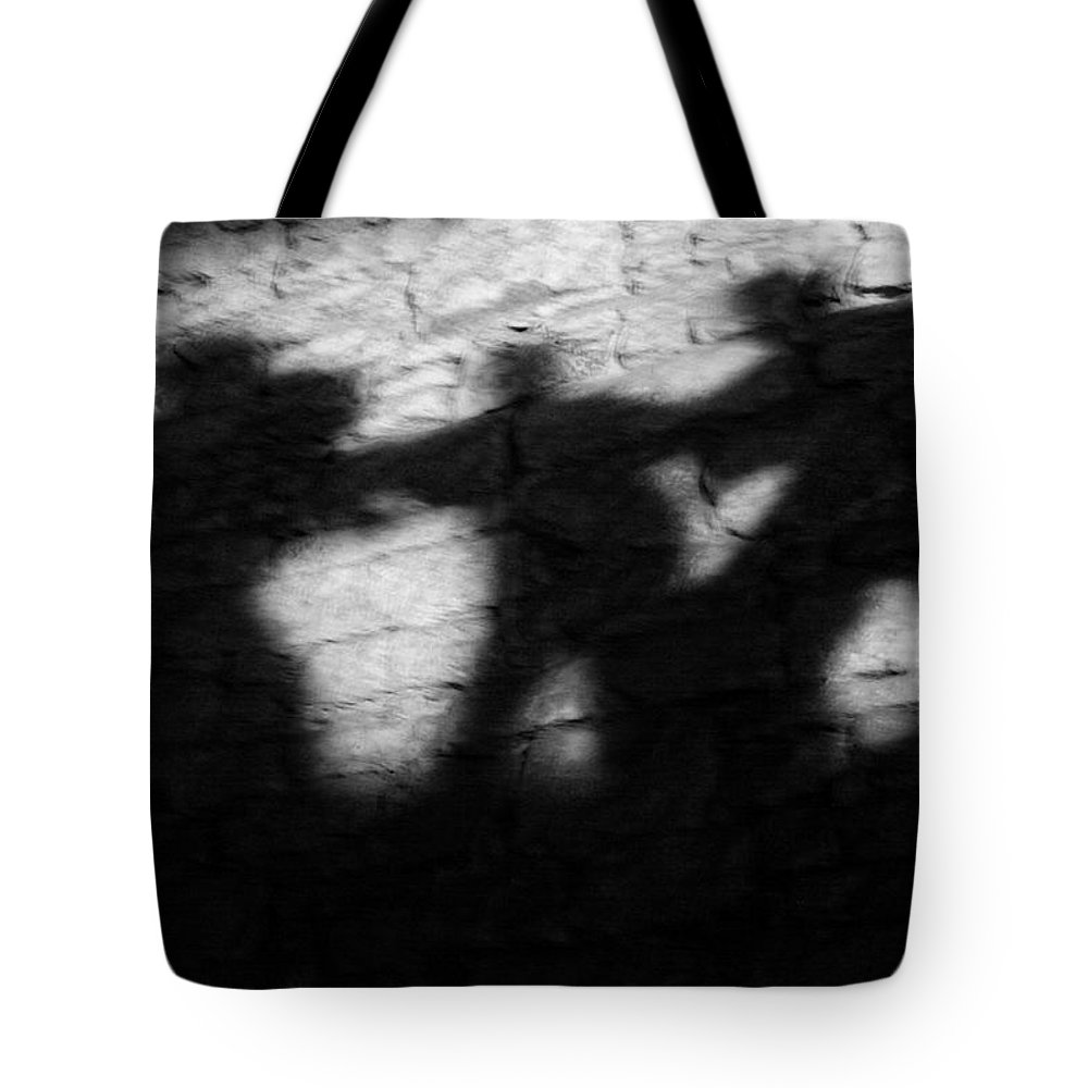 Wall Tote Bag featuring the photograph Shadows On The Wall Of Edinburgh Castle by Christine Till