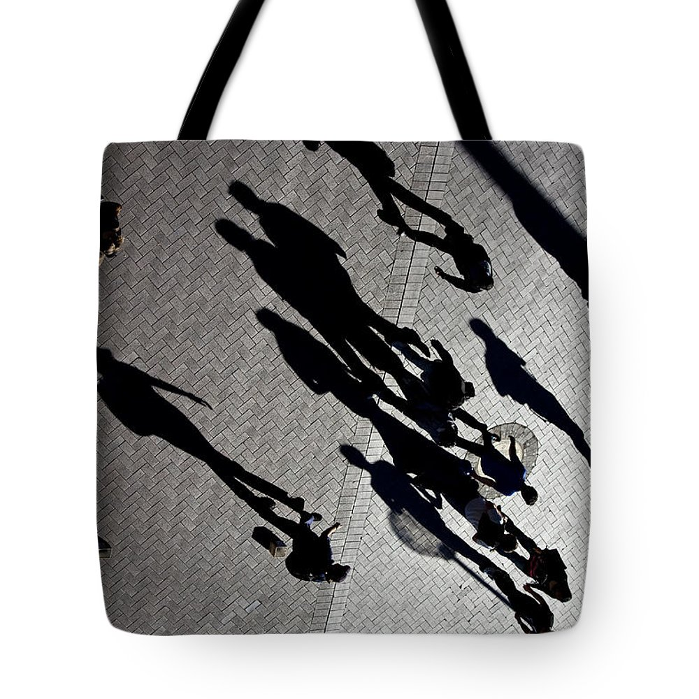 Shadows People Abstract Tote Bag featuring the photograph Shadows by Sheila Smart Fine Art Photography