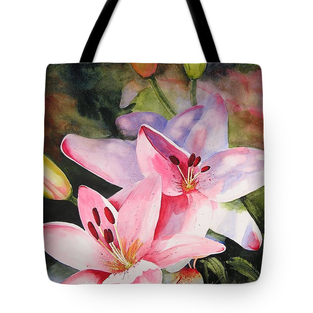 Lilies Tote Bag featuring the painting Shady Ladies by Karen Stark