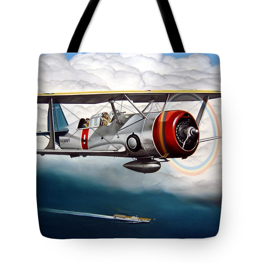 Aviation Tote Bag featuring the painting Shakedown Cruise by Marc Stewart