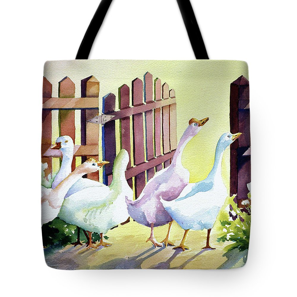 Animal Tote Bag featuring the painting Shall We by Connie Williams