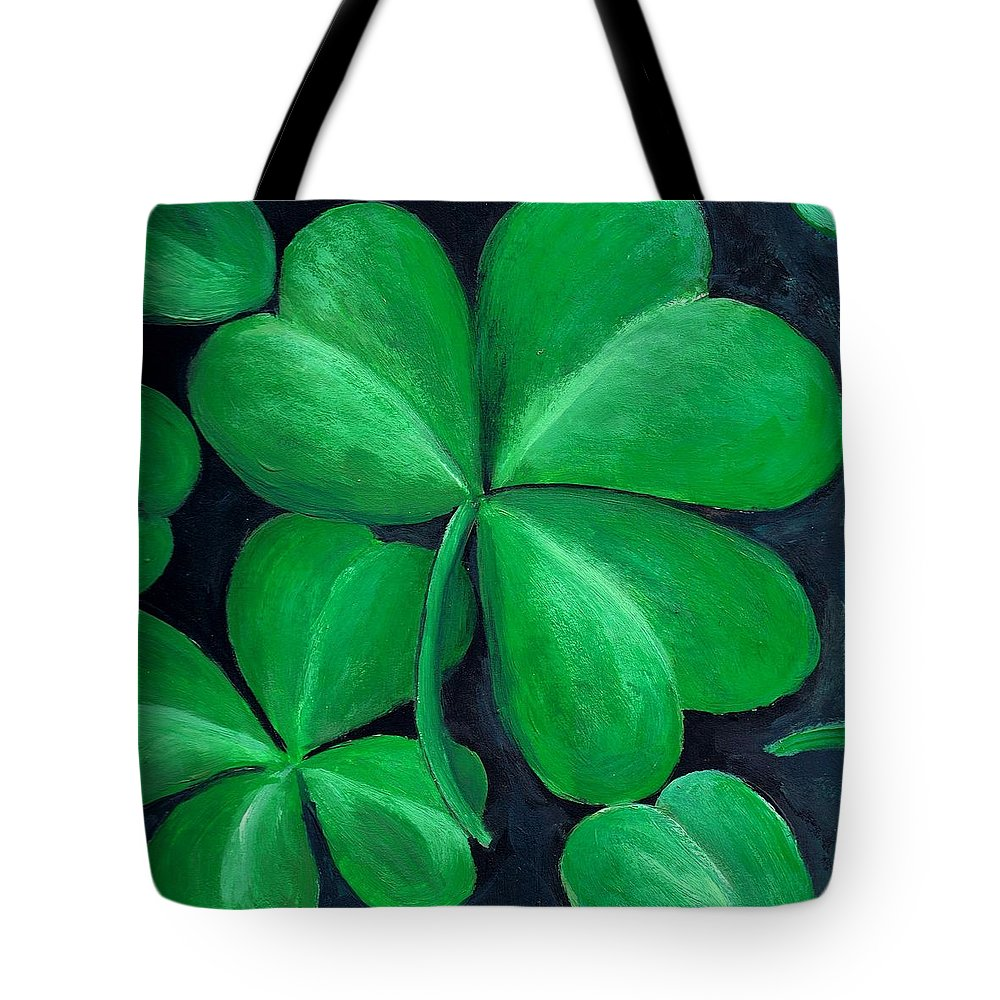Shamrock Tote Bag featuring the painting Shamrocks by Nancy Mueller