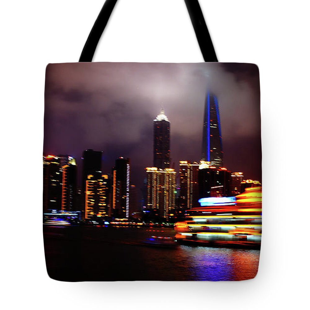 Shanghai Tote Bag featuring the photograph Shanghai Exposed by Bhishma Patel