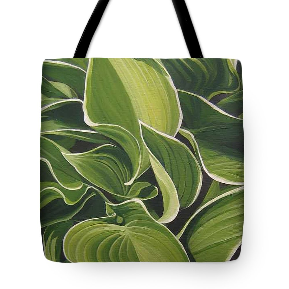 Closeup Of Hosta Plant Tote Bag featuring the painting Shapes that Go Together by Hunter Jay