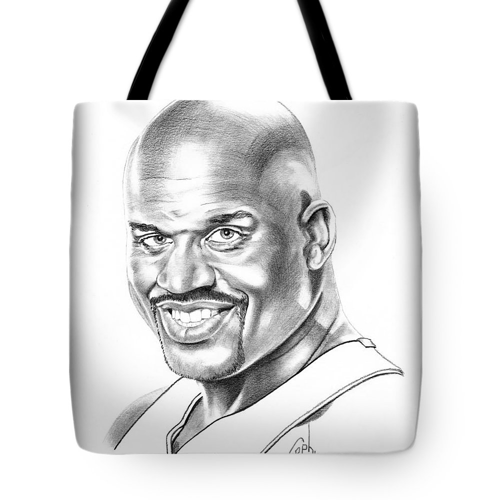 Basketball Tote Bag featuring the drawing Shaquille O'neal by Murphy Elliott