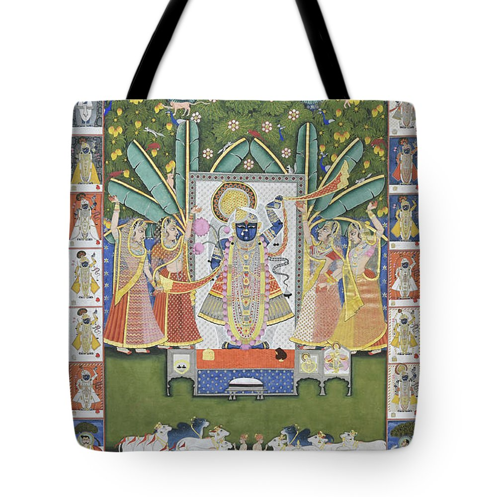 Pichwai Tote Bag featuring the painting Sharad Utsav - V by Pichwai Pichvai Pichhavai Pitchwai