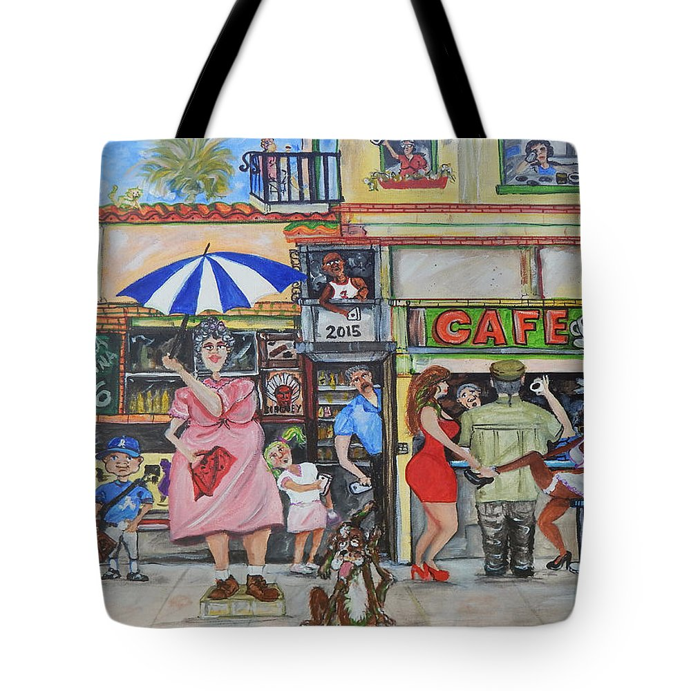 Cafe Tote Bag featuring the painting Sharing -Compartiendo by Jorge Delara