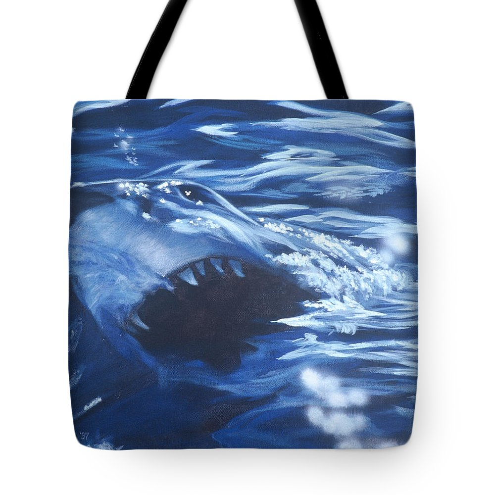 Shark Tote Bag featuring the painting Shark by Bryan Bustard