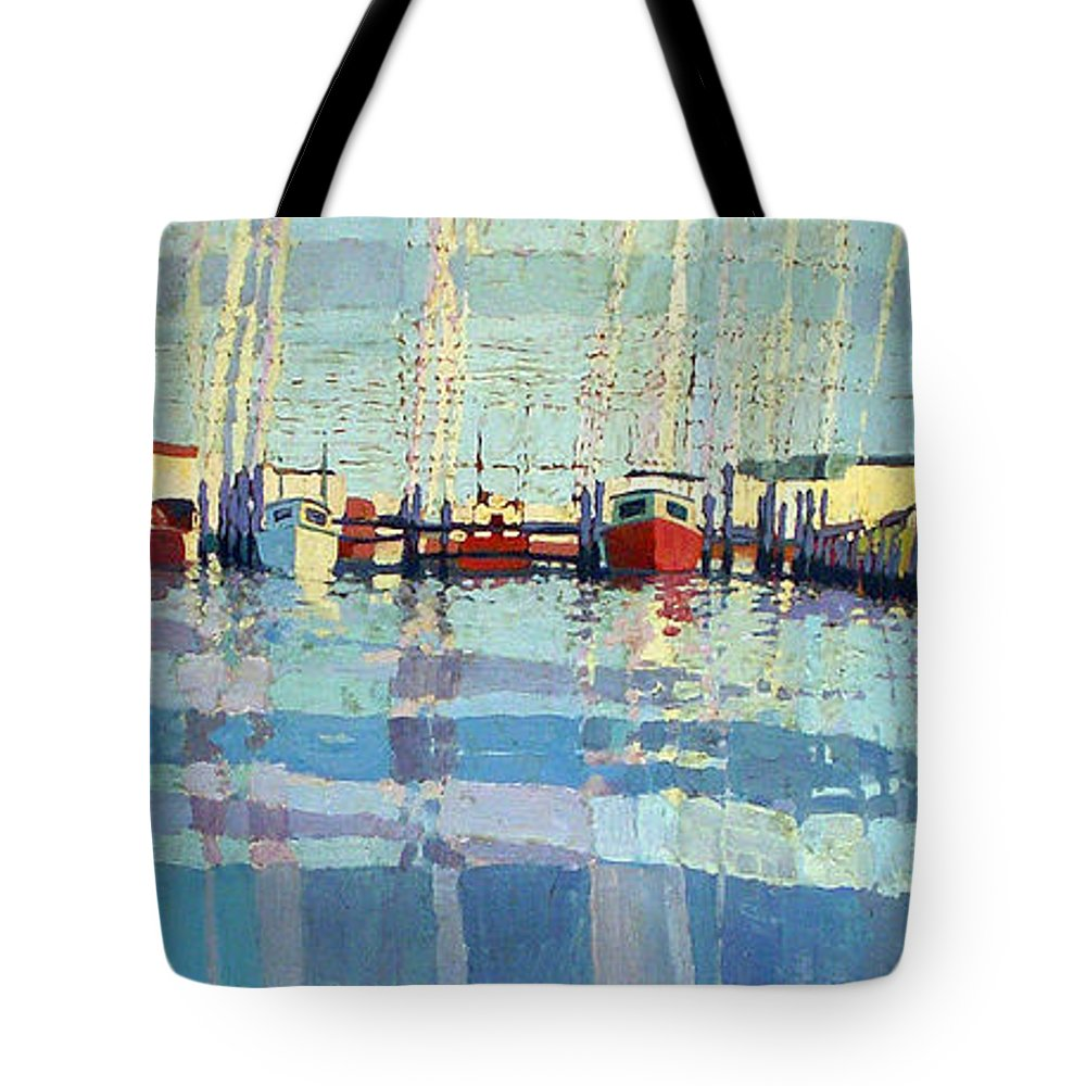 Belmar Inlet Tote Bag featuring the painting Shark River Inlet by Donald Maier