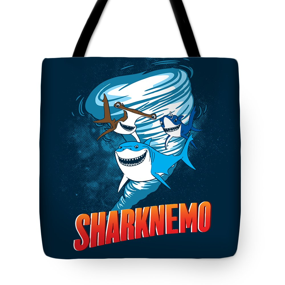 Shark Tote Bag featuring the digital art Sharknemo by Dale Hutchinson