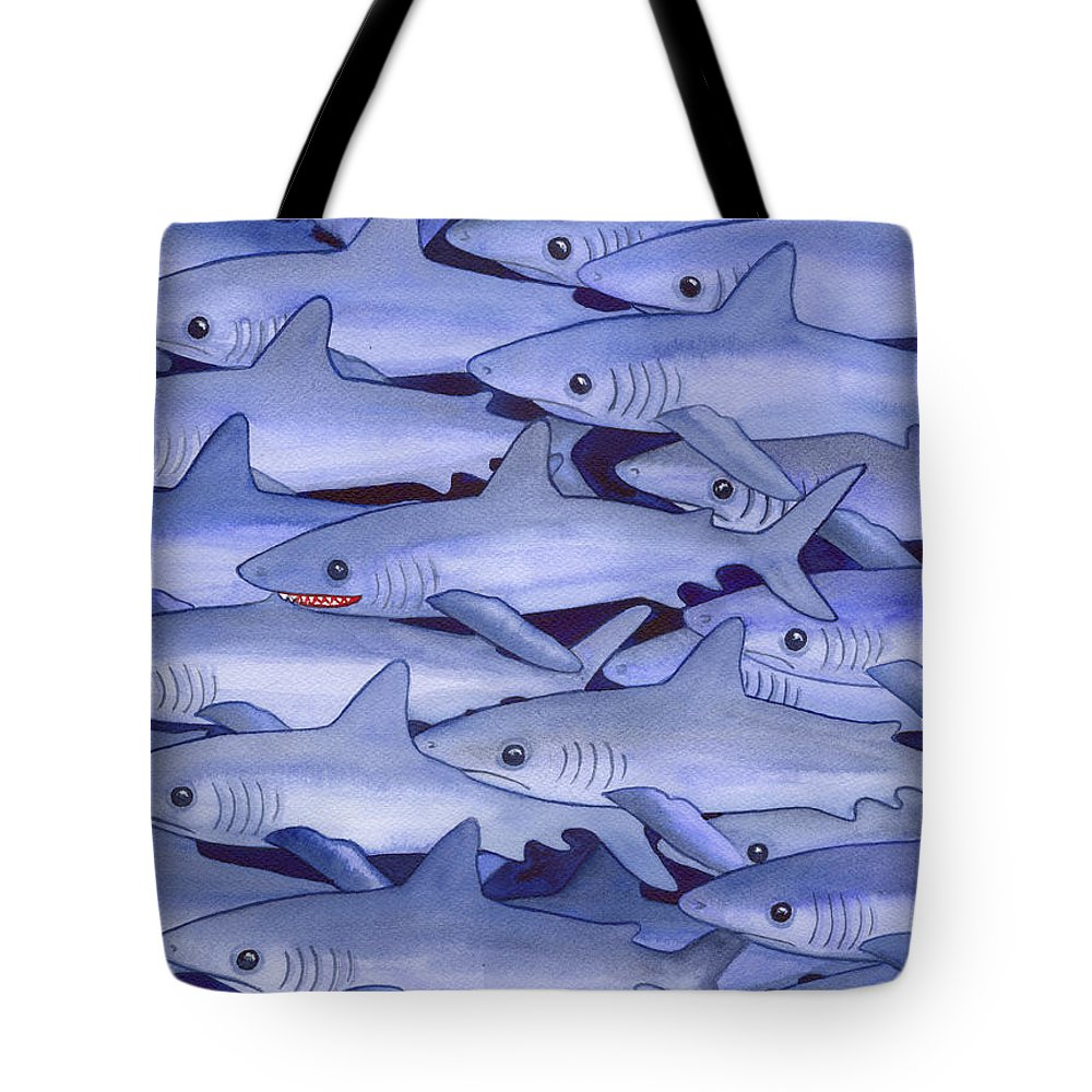 Shark Tote Bag featuring the painting Sharks by Catherine G McElroy