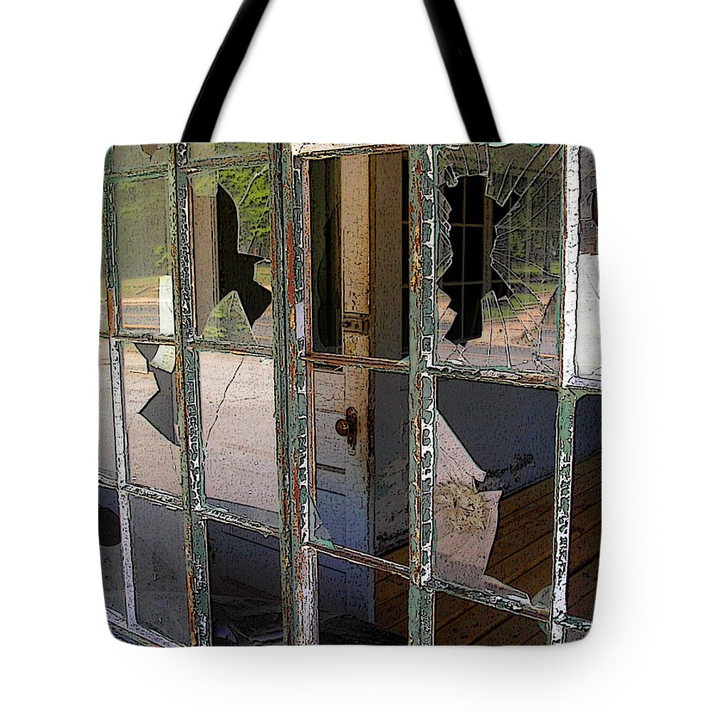 Window Tote Bag featuring the photograph Shattered by Anne Cameron Cutri