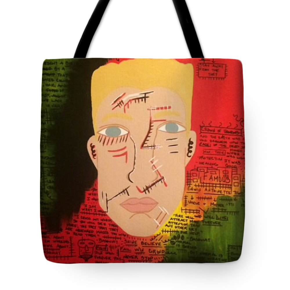 Basquiat Tote Bag featuring the painting Shaun Ross - Basquiat Joint II by Tarynn Jackson