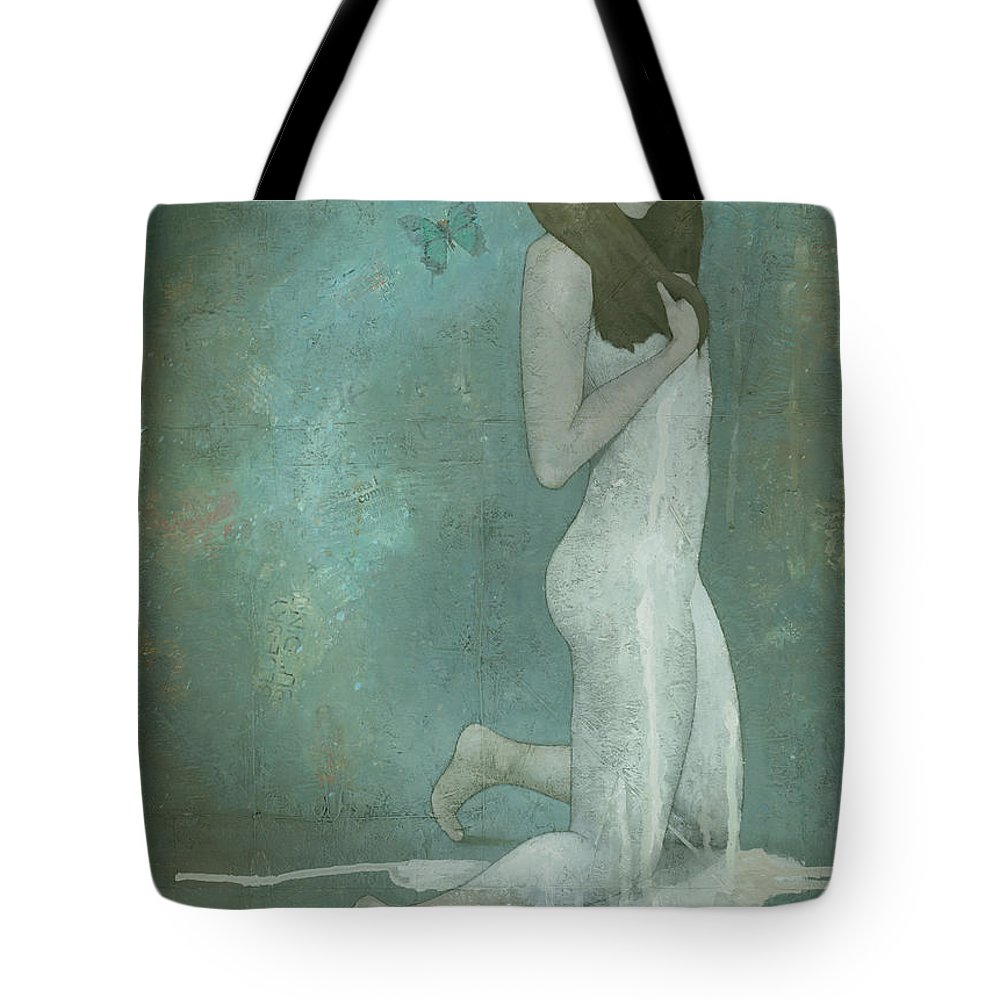 Green Tote Bag featuring the painting Shavata by Steve Mitchell