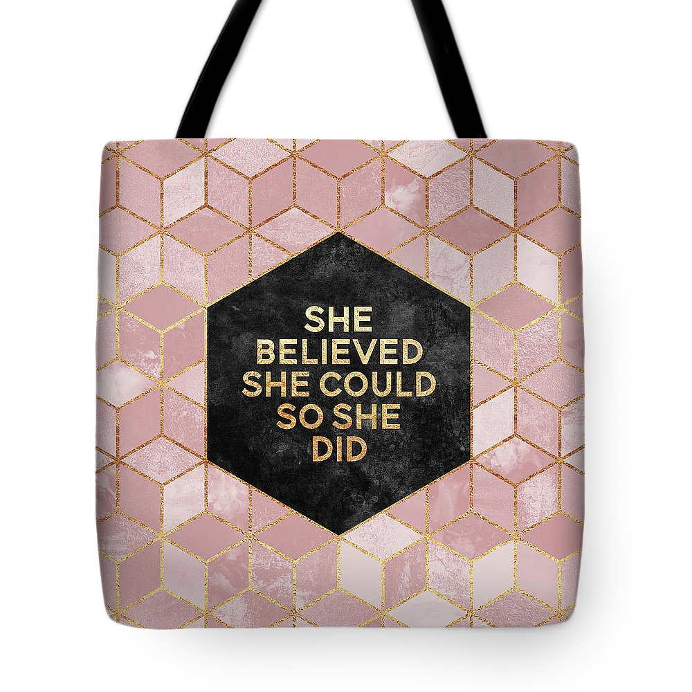 Graphic Tote Bag featuring the digital art She Believed She Could by Elisabeth Fredriksson