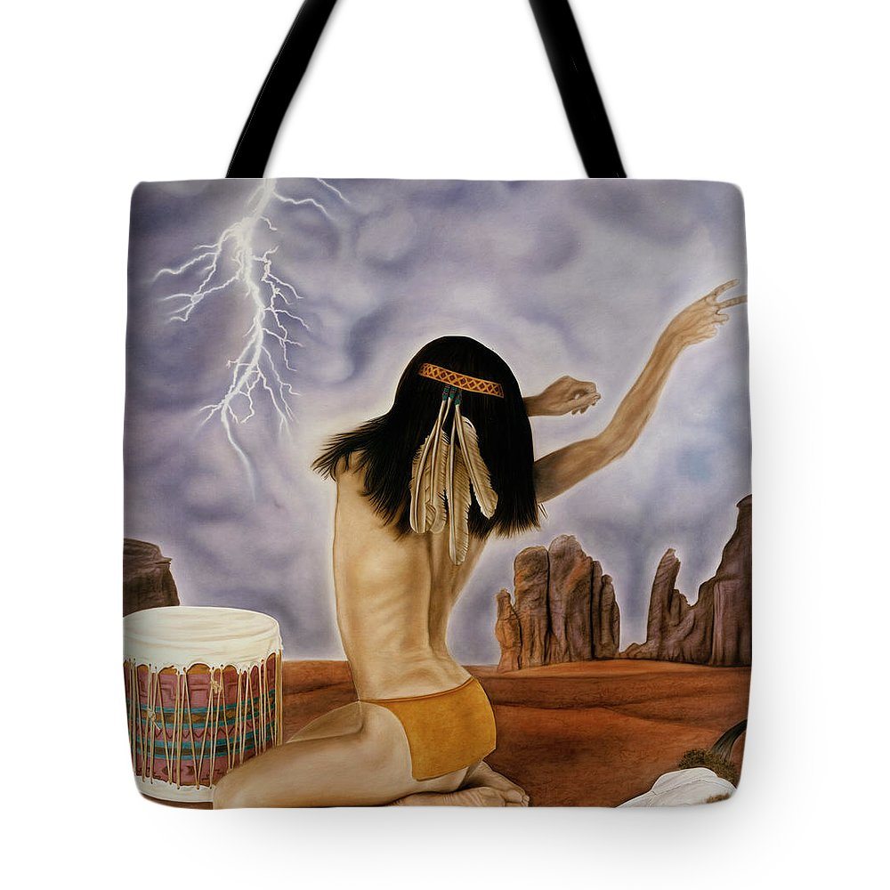 Storm Tote Bag featuring the painting She Called The Rain by Rich Milo