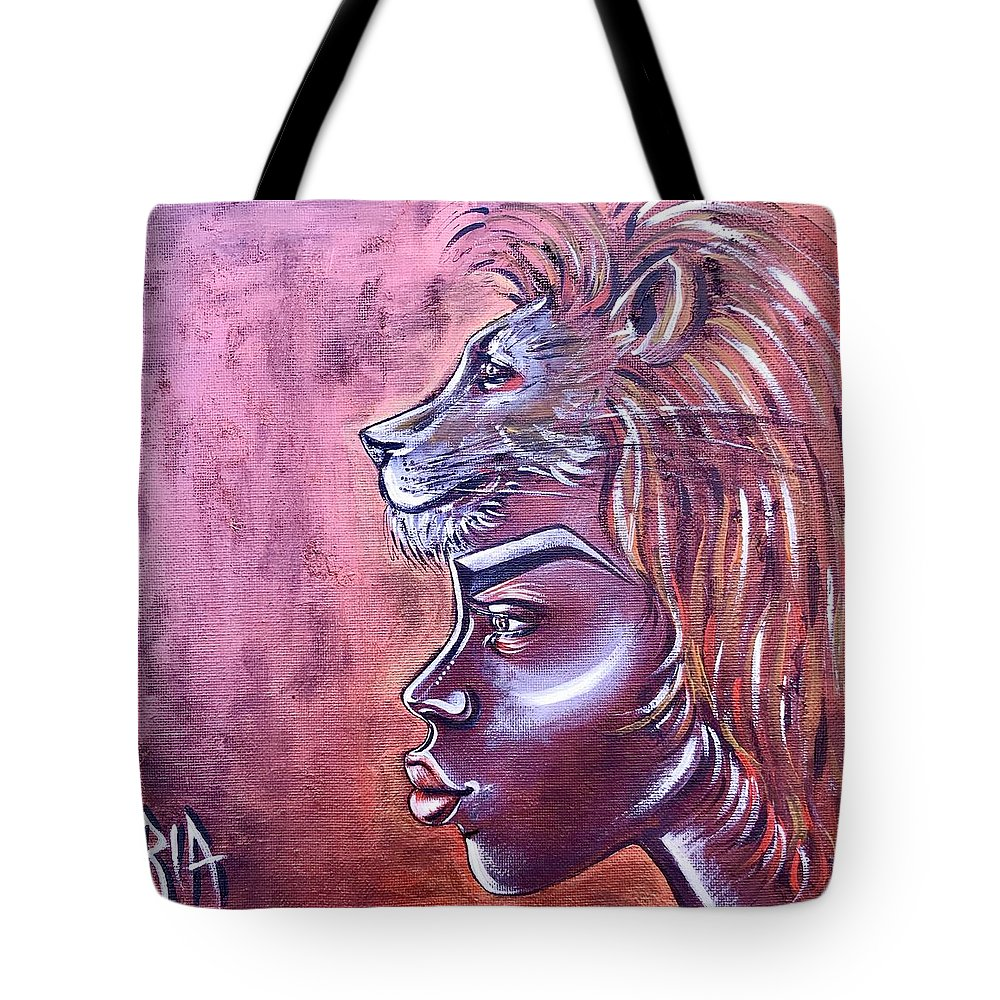 Lion Tote Bag featuring the painting She Has Goals by Artist RiA