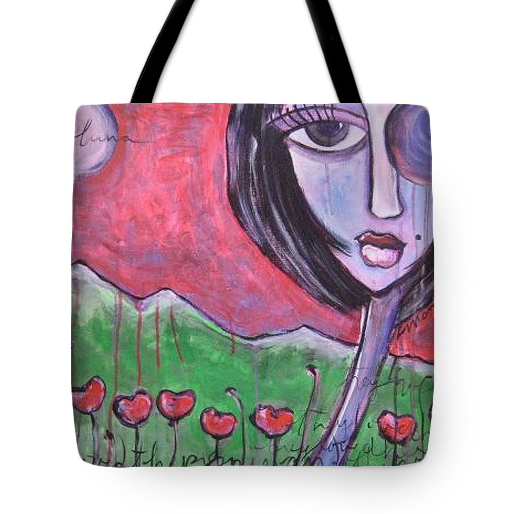 Poppies Tote Bag featuring the painting She Loved The Poppies by Laurie Maves ART