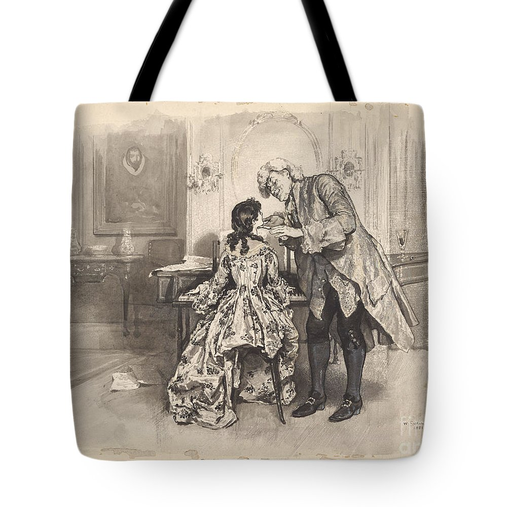 William Small Tote Bag featuring the painting She Played All His Favourites Three Times Over Without Any Solicitation by MotionAge Designs