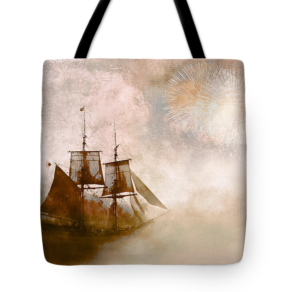 Tall Ships Tote Bag featuring the photograph She Returns Home by Jeff Burgess