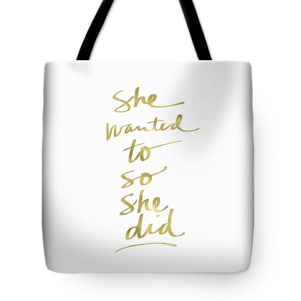 Female Athlete Tote Bag featuring the painting She Wanted To So She Did Gold- Art By Linda Woods by Linda Woods