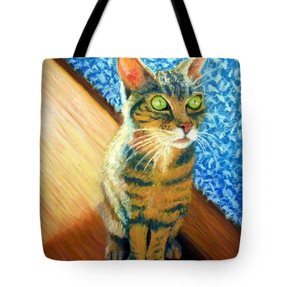 Cat Tote Bag featuring the painting She Wants To Be Famous by Minaz Jantz