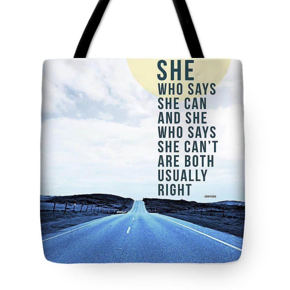 Road Tote Bag featuring the mixed media She Who Can- Art By Linda Woods by Linda Woods