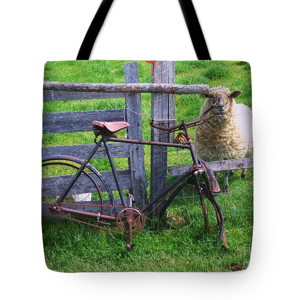 Photograph Sheep Bicycle Fence Grass Tote Bag featuring the photograph Sheep And Bicycle by Seon-Jeong Kim