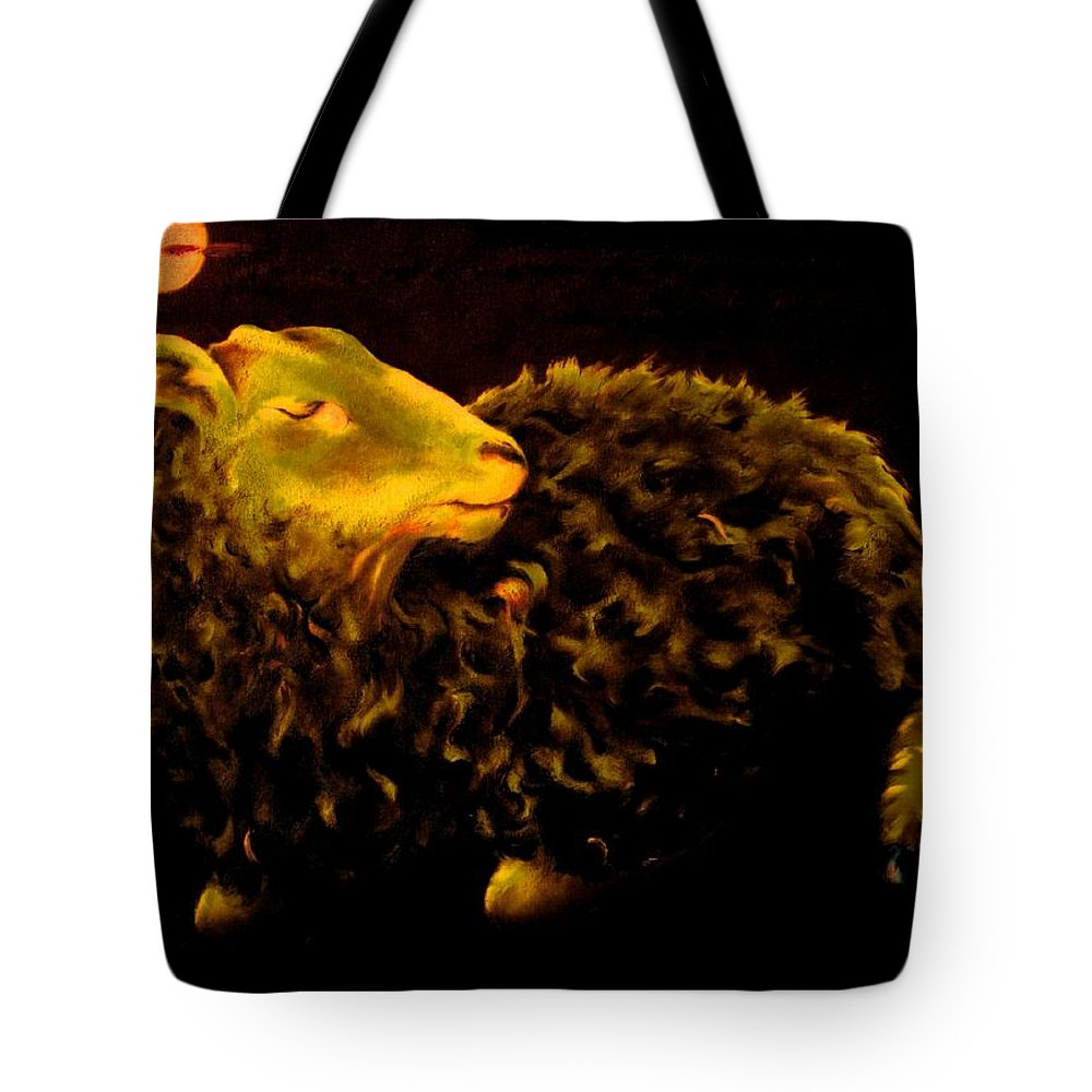Sheep Tote Bag featuring the painting Sheep At Night by Mark Cawood