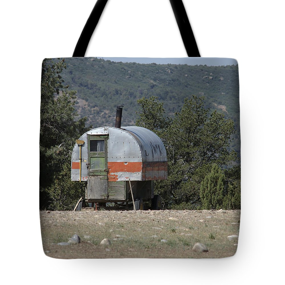 Sheep Tote Bag featuring the photograph Sheep Herder's Wagon by Jerry McElroy