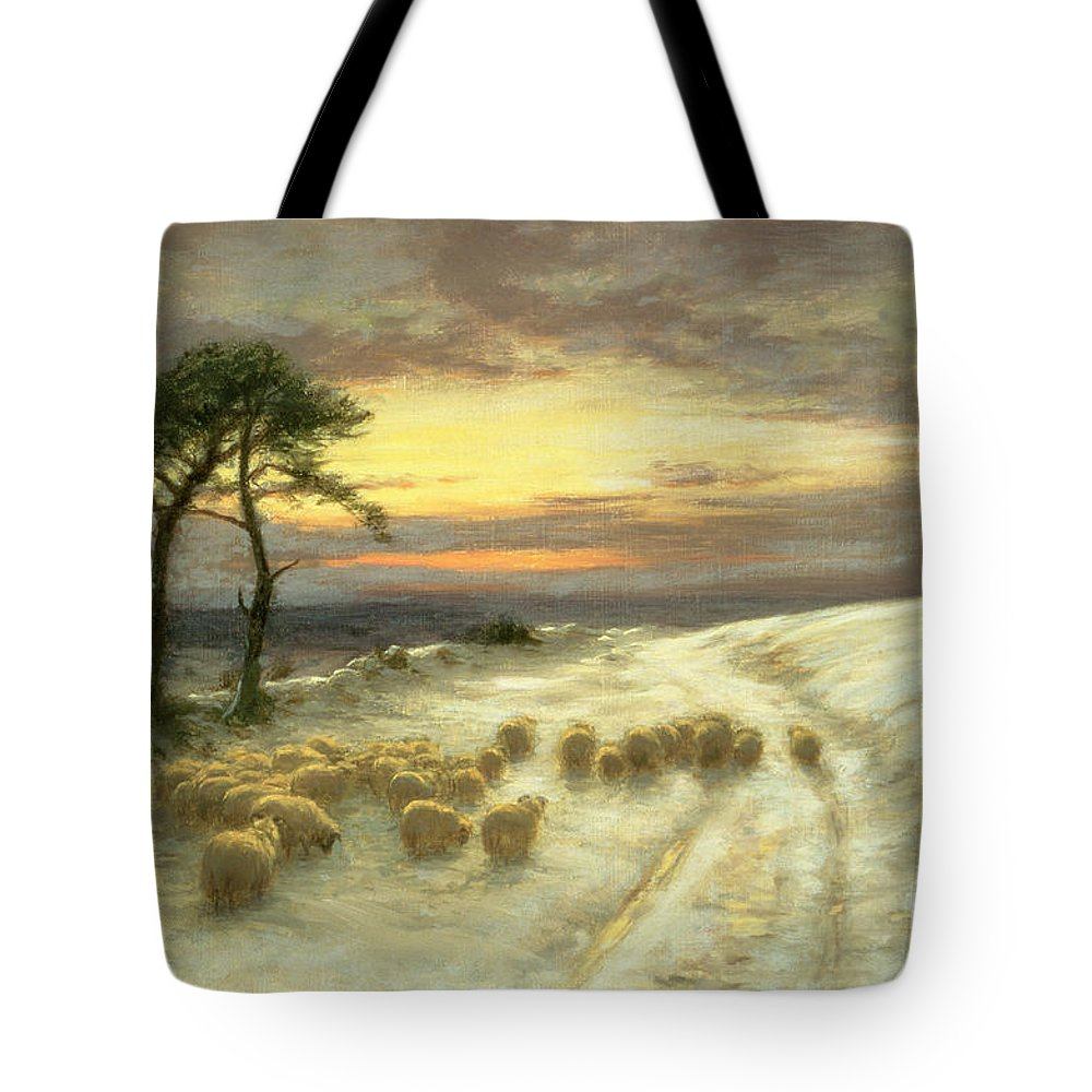 Sheep Tote Bag featuring the painting Sheep In The Snow by Joseph Farquharson