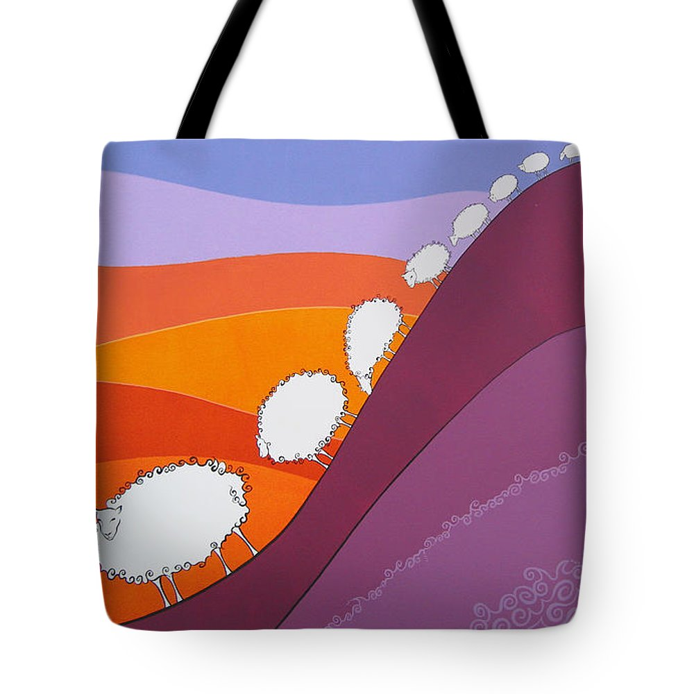 Mountains Tote Bag featuring the painting Sheep by Patricia Van Lubeck