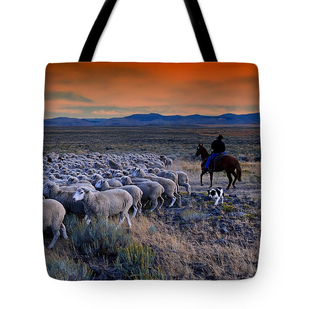 Sheepherder Tote Bag featuring the photograph Sheepherder Life by Movie Poster Prints