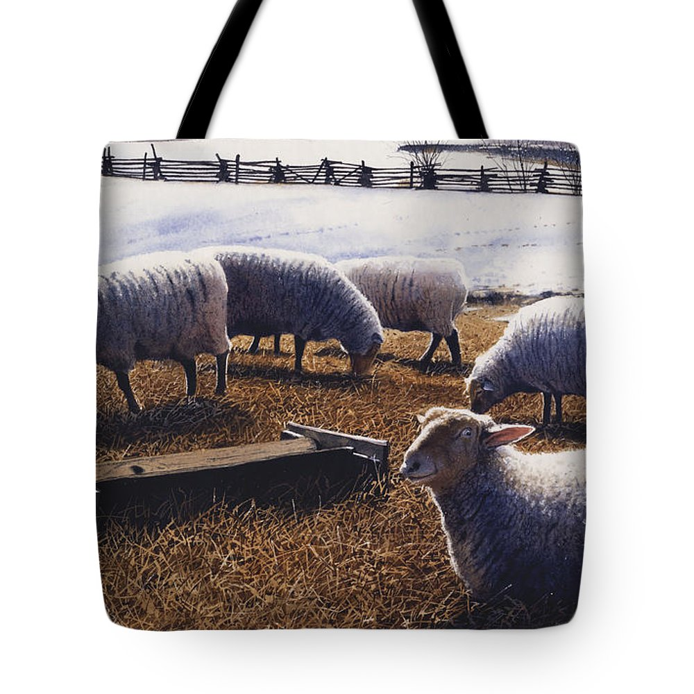 Sheep Tote Bag featuring the painting Sheepish by Denny Bond