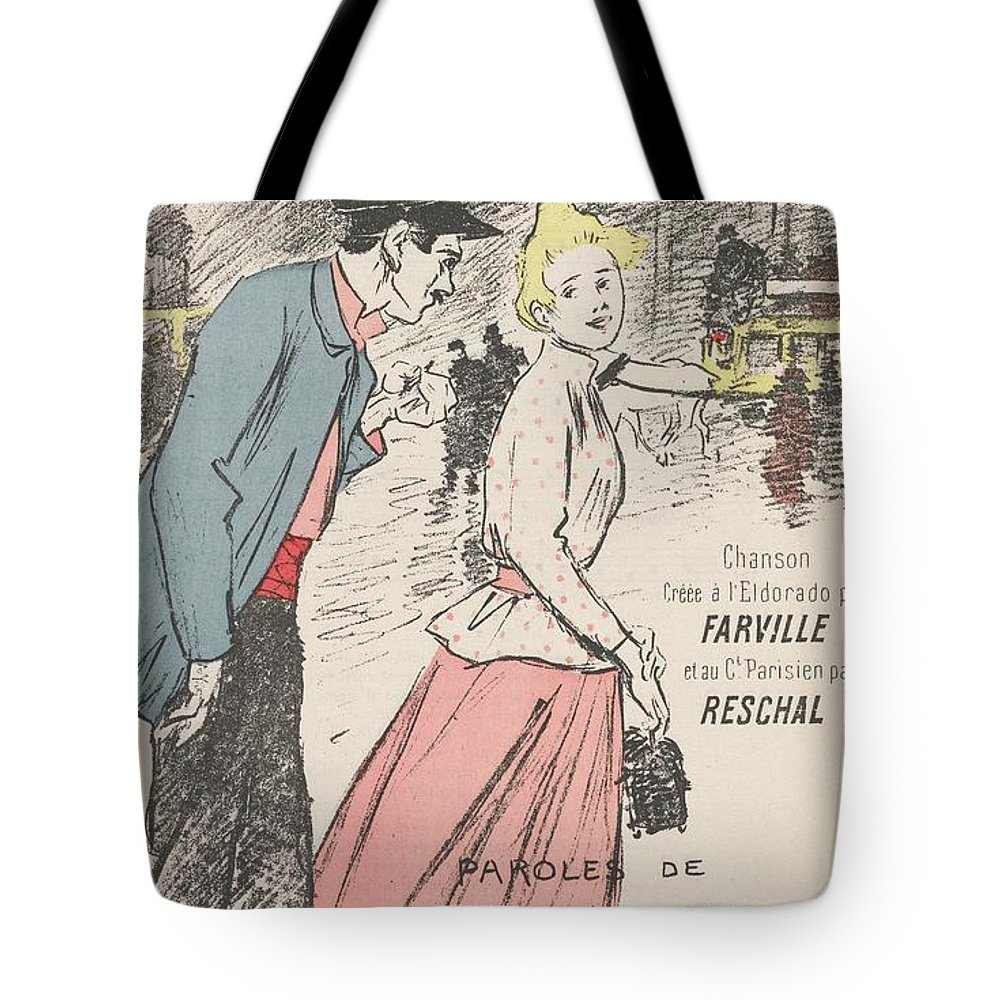 Girl Tote Bag featuring the painting Sheet Music Dans Lxviiieme By Achille Bloch And Louis Byrec, Performed By Farville And Reschal Theo by Farville and Reschal Theophile Alexandre Steinlen