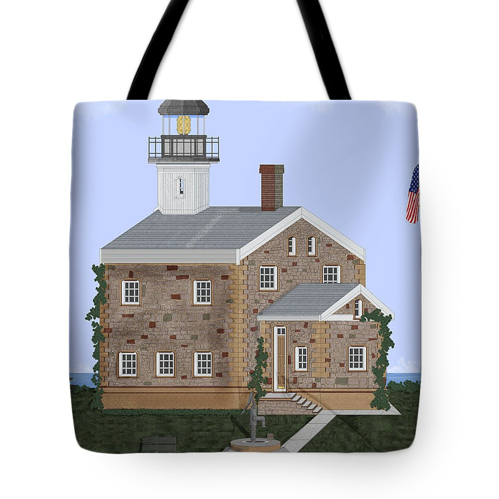 Lighthouse Tote Bag featuring the painting Sheffield Island Lighthouse Connecticut by Anne Norskog