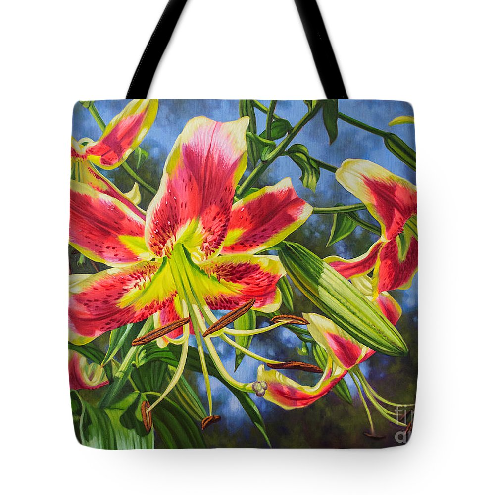 Fiona Craig Tote Bag featuring the painting Sheherazade Lilies 1 by Fiona Craig