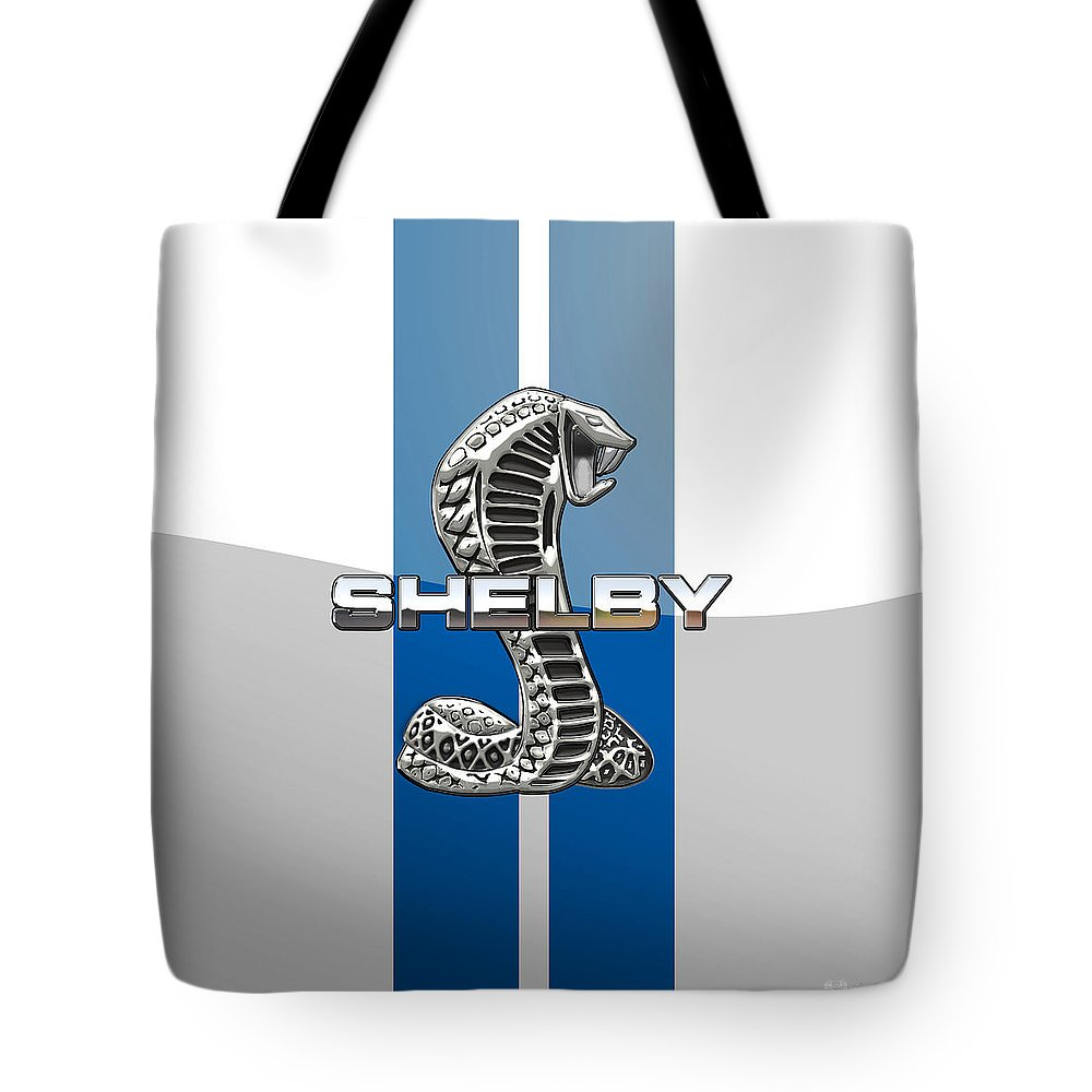 'auto Badges' Collection By Serge Averbukh Tote Bag featuring the photograph Shelby Cobra - 3D Badge by Serge Averbukh