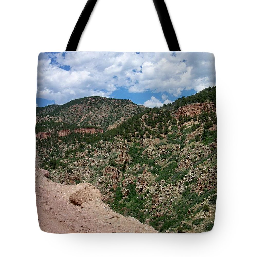 Shelf Road Tote Bag featuring the photograph Shelf Road Drop Off by Anita Burgermeister