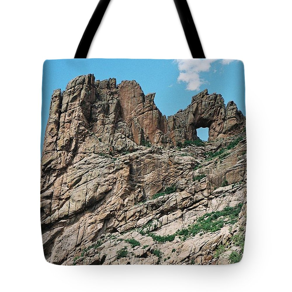 Shelf Road Tote Bag featuring the photograph Shelf Road Rock Formations by Anita Burgermeister