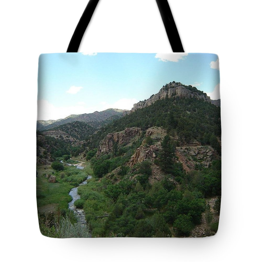 Shelf Road Tote Bag featuring the photograph Shelf Road Vista by Anita Burgermeister