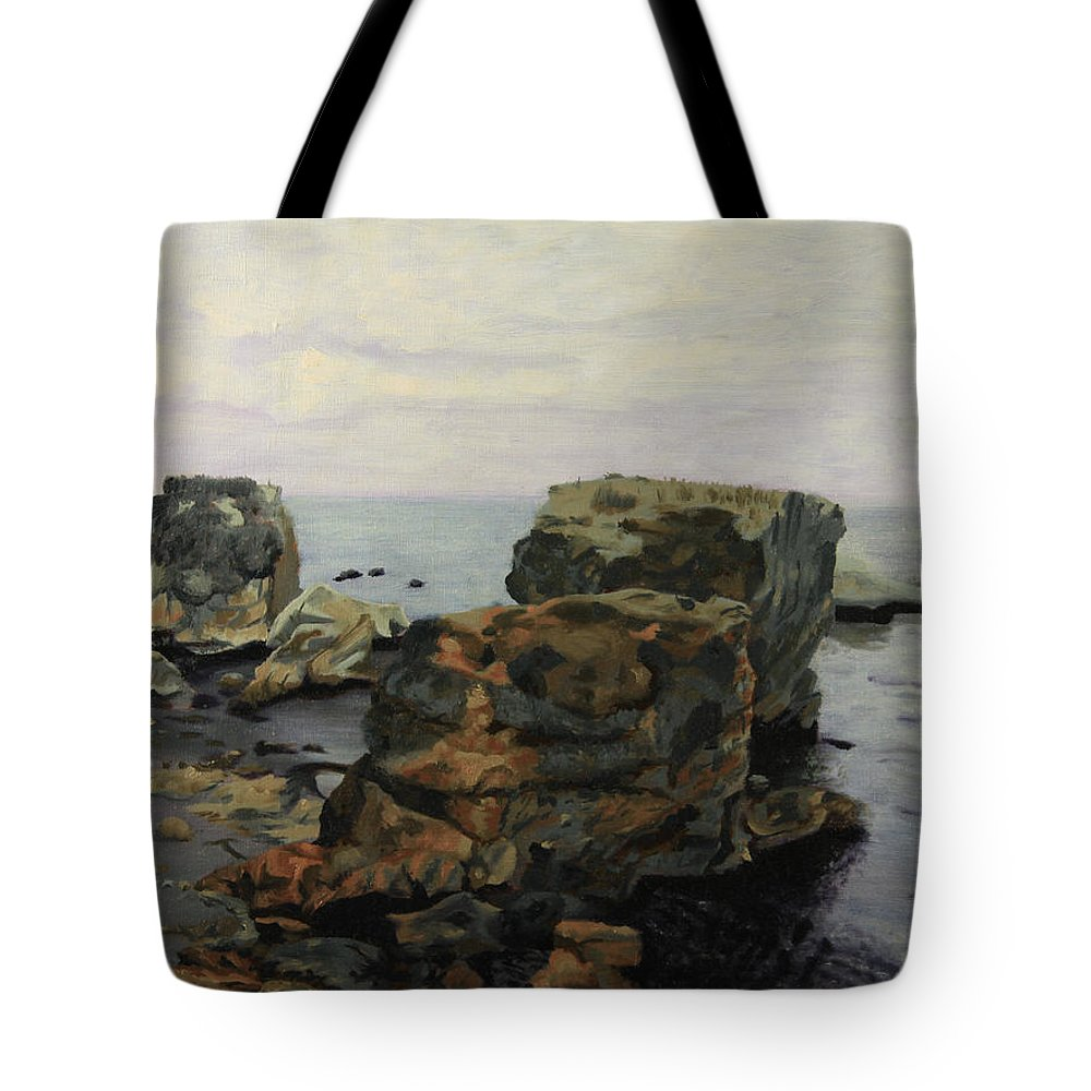 Shelley Irish Tote Bag featuring the painting Shell Beach by Shelley Irish