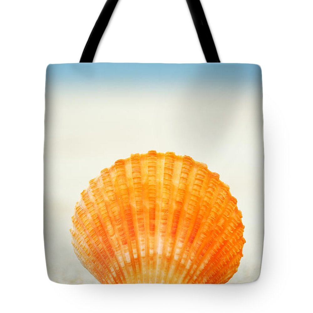 Afternoon Tote Bag featuring the photograph Shell On Beach by Mary Van de Ven - Printscapes
