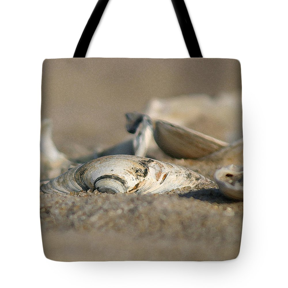 Seascape Tote Bag featuring the photograph Shell Pile by Mary Haber