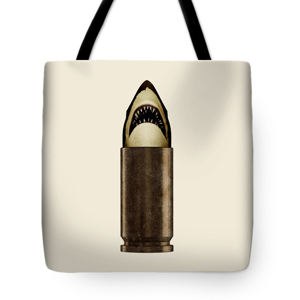 Bullet Tote Bag featuring the digital art Shell Shark by Nicholas Ely
