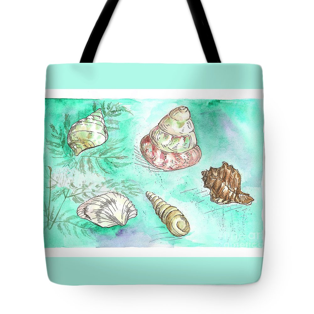Shells Tote Bag featuring the painting Shells by Yana Sadykova
