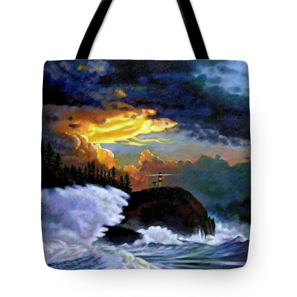 Ocean Tote Bag featuring the painting Shelter From The Storm by John Lautermilch