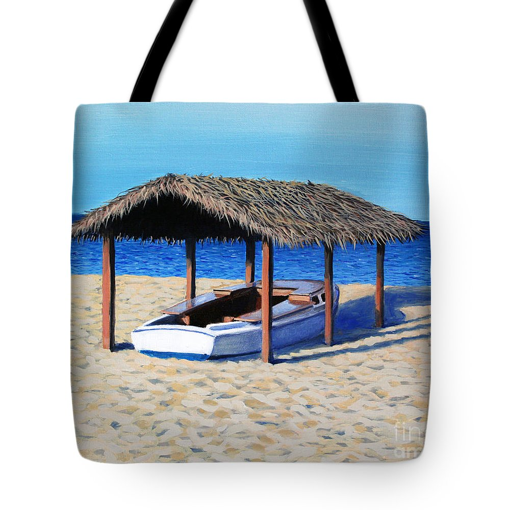 Boat Tote Bag featuring the painting Sheltered Boat by Paul Walsh